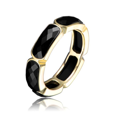 Collette Z Sterling Silver Cubic Zirconia Blast Statement Ring - Black