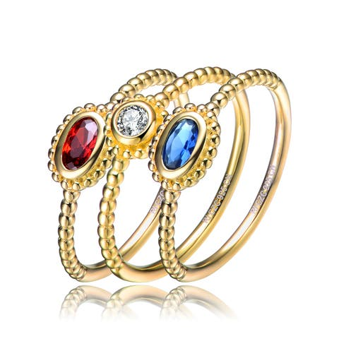 Collette Z Sterling Silver with Gold Plated Blue and Red Oval with Clear Round Cubic Zirconia Stackable Three Ring
