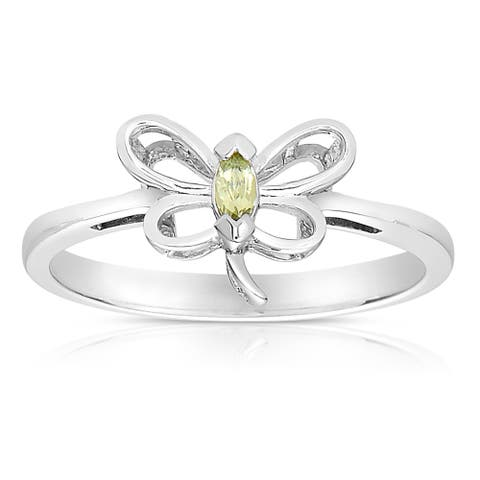 Collette Z Sterling Silver Genuine Gem Stone Butterfly Ring - Green
