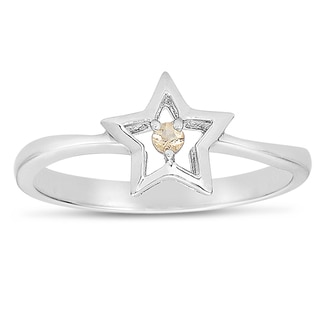 Collette Z Sterling Silver Genuine Gem Stone Stone Star Ring