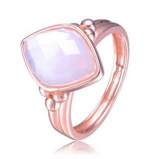 Collette Z Rose Gold Overlay Opaque Cubic Zirconia Diamond Shape Ring