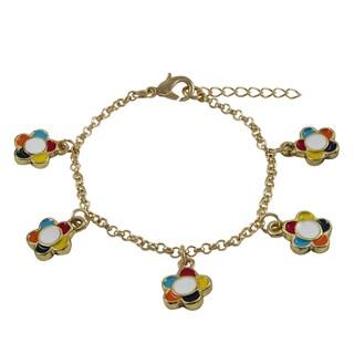 Luxiro Gold Finish Children's Multi-color Enamel Flower Charm Bracelet - Red