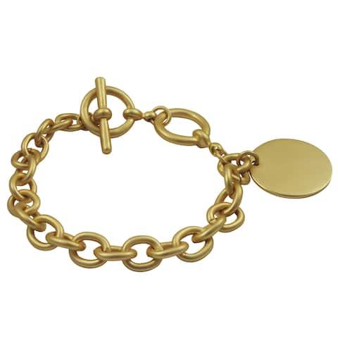 Satin Gold Finish Dog Tag ID Toggle Bracelet