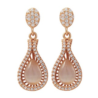 Luxiro Rose Gold Finish Sterling Silver Cat Eye Gemstone Teardrop Earrings - White