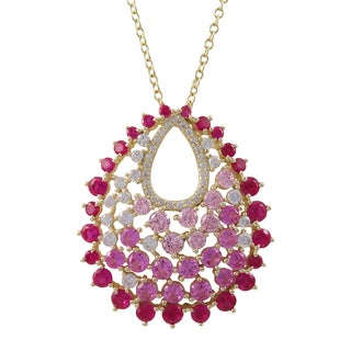 Luxiro Gold Finish Sterling Silver Lab-created Ruby Teardrop Pendant Necklace
