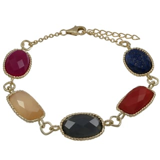 Luxiro Gold Finish Sterling Silver Semi-precious Gemstone Bracelet