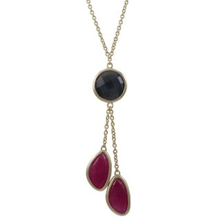 Luxiro Gold Finish Sterling Silver Semi-precious Gemstone Tassel Necklace