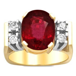 Artistry Collections 14k Two-tone Gold 1/3ct TDW Diamond and Rubelite Ring (F-G, VS1-VS2)