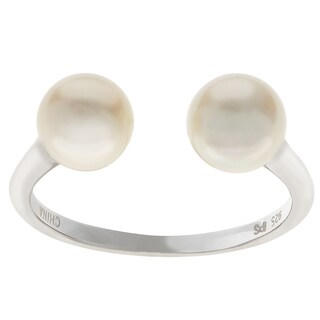 Pearls For You Sterling Silver White Freshwater Pearl Open Side Pearl Ring 6 5 7mm