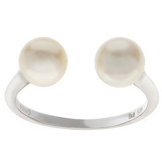 Pearls For You Sterling Silver White Freshwater Pearl Open Side Pearl Ring (6.5-7mm)