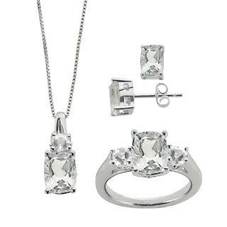 Gems For You Sterling Silver Green Amethyst and White Quartz Jewelry Set
