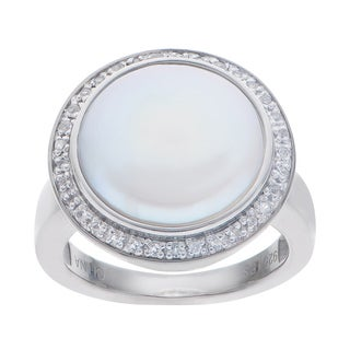 Pearls For You Sterling Silver White Coin Pearl and White Topaz Ring (14mm)