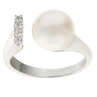 Pearls For You Sterling Silver Freshwater Pearl and White Topaz Open Ring (9.5-10mm)