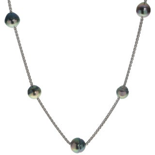 Pearls For You Sterling Silver Multi-color Tahitian Pearl Station Necklace