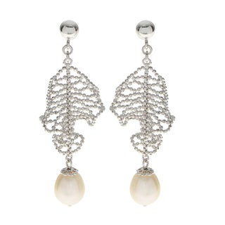 Pearls For You Sterling Silver White Freshwater Pearl 'Lace' Dangle Earrings (8.5-9mm)
