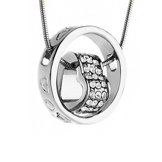 14k White Gold Austrian Crystal Heart Circle Pendant Necklace