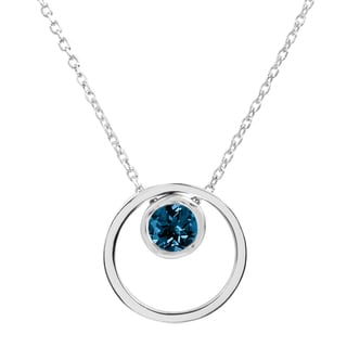 Sterling Silver Round London Blue Topaz Double Circle Pendant with 18-inch Cable Chain Necklace + 2-inch Extender