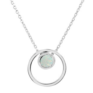 Sterling Silver Round Created Opal Double Circle Pendant with 18-inch Cable Chain Necklace + 2-inch Extender