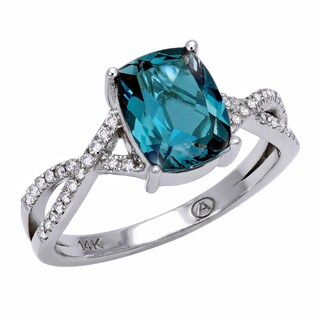 Beverly Hills Charm 14K White Gold 1/8ct TDW Diamond and London Blue Topaz Ring (H-I, SI2-I1)