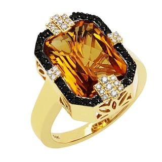 Beverly Hills Charm 14K Yellow Gold 1/4ct TDW Diamond and Citrine Ring (H-I, SI2-I1)