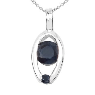 Sterling Silver 3/4ct TGW Blue Sapphire Pendant