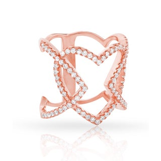 Rose Gold over Silver Cubic Zirconia Micro Pave Iced Heart Ring
