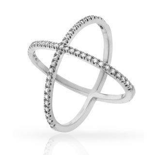 Sterling Silver Cubic Zirconia Fancy Round X Ring
