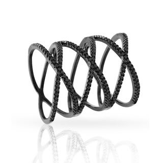 Black over Silver Cubic Zirconia Micro Pave Triple X Black Rhodium Plated Ring