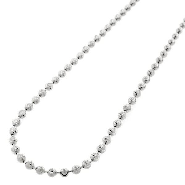 "14k White Gold 3mm Moon Cut Ball Bead Solid Necklace Chain 20"" - 30"""