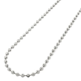 14k White Gold 3mm Moon Cut Bead Pendant Chain Necklace
