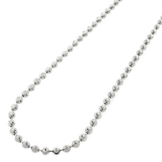 """14k White Gold 3mm Moon Cut Ball Bead Solid Necklace Chain 20"""" - 30"""""""