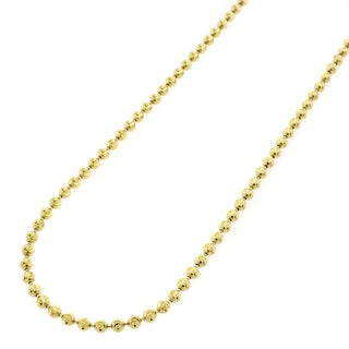14k Yellow Gold 2mm Moon Cut Bead Pendant Chain Necklace