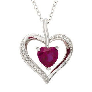 H Star Sterling Silver Heart Shaped Created Ruby and Diamond Accent Pendant (H-I, I1-I2)