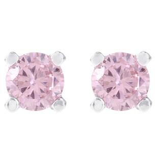 H Star Sterling Silver Pink Diamagem Stud Earrings