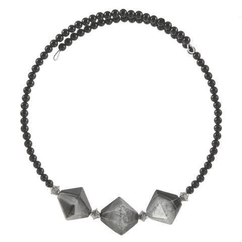 Handmade Nephthys Quartz and Onyx Choker Necklace