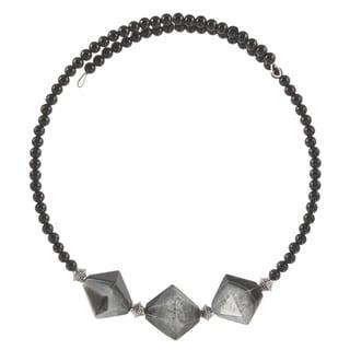Nephthys Quartz and Onyx Choker Necklace