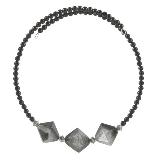 Handmade Nephthys Quartz and Onyx Choker Necklace. Opens flyout.