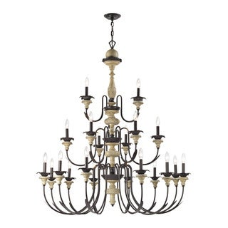 Elk Channery Point 21-light LED Chandelier in Aged Cream and Oil Rubbed Bronze