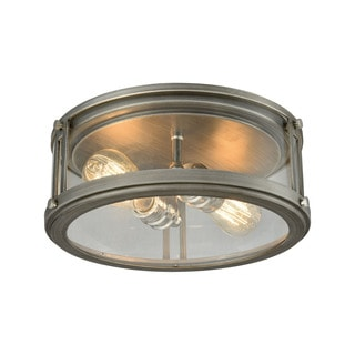 Elk Coby 2-light LED Flush in Weathered Zinc With Polished Nickel Accents
