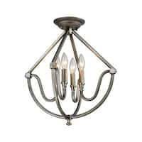 Elk Stanton 4-light  LED Semi Flush in Weathered Zinc With Brushed Nickel Accents