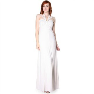 Evanese Women's Cross Tie Halter Dress with Contrast (Creme/Creme- Size-XL)(As Is Item)