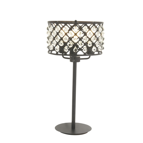 Modern 25 x 9 inch iron and acrylic beaded table lamp
