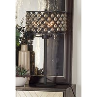 Modern 25 x 9 inch iron and acrylic beaded table lamp