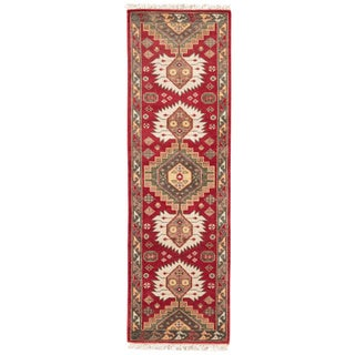 "Hand-Knotted Tribal Red Area Rug (2'6"" X 8')"
