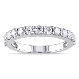 Miadora Signature Collection 10k White Gold 1ct TDW Diamond Semi Eternity Ring