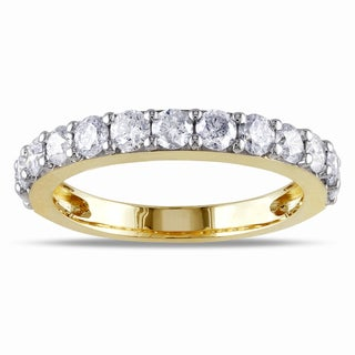 Miadora Signature Collection 10k Yellow Gold 1ct TDW Diamond Semi Eternity Ring