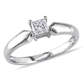 Miadora Signature Collection 14k White Gold 1/3ct TDW Princess-cut Diamond Solitaire Engagement Ring