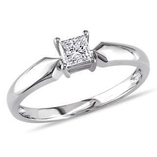 Miadora 14k White Gold 1/3ct TDW Princess-cut Diamond Solitaire Ring