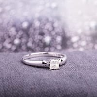 Miadora 10k White Gold 1/3ct TDW Princess-cut Diamond Solitaire Ring