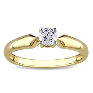Miadora 10k Yellow Gold 1/3ct TDW Diamond Solitaire Ring